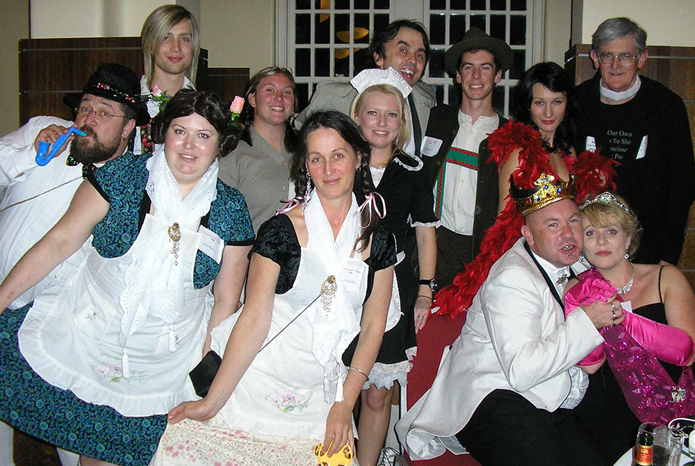 characters at a hosted murder mystery